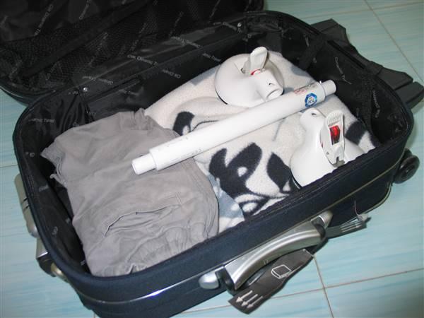 Maniglia da Viaggia a ventose smontata in borsa